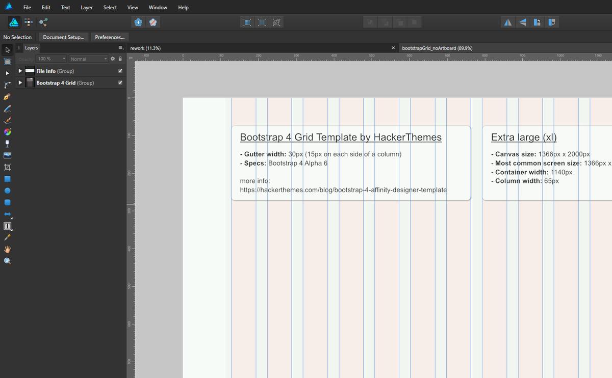 Bootstrap 4 Grid for Affinity Designer